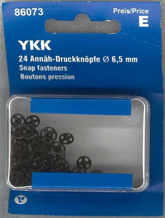 24 Stück YKK Annäh Druckknöpfe 6,5mm Silber
